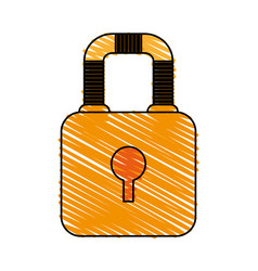 Color crayon stripe image cartoon padlock with vector