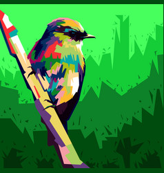 colorful bird pop art style birds perch vector image