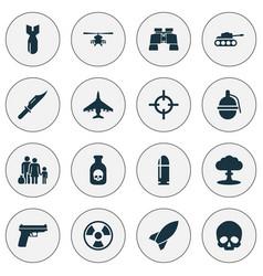 Combat icons set collection of slug rocket vector