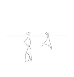continuous one line lingerie is dried on a rope vector image