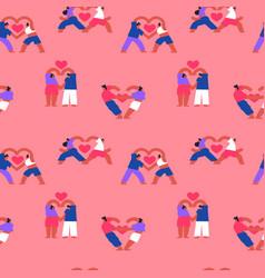 couple yoga people love seamless pattern cartoon vector image