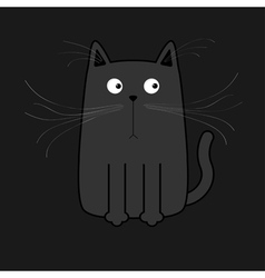 Cute black cartoon cat Big mustache whisker Funny vector