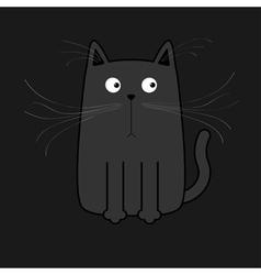 Cute black cartoon cat big mustache whisker funny vector