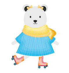 Cute female polar bear in skates vector
