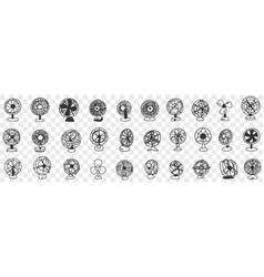Different blowing fans doodle set vector