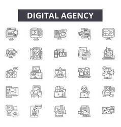 digital agency line icons signs set vector image