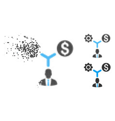 Dispersed pixel halftone business scheme icon vector
