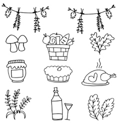 Doodle of thanksgiving stock collection vector image