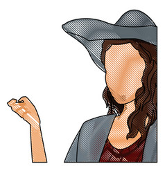 drawing woman faceless fashion hat hairstyle vector image