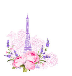 Eiffel tower with rose flowers isolated over white vector
