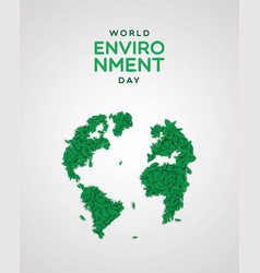 Environment day card green leaf earth map vector