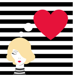 Fashion girl dreaming of love vector