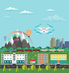 Flat design city life and urban landscape Aircraft vector