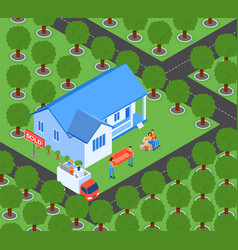 Flat family moves to new home vector