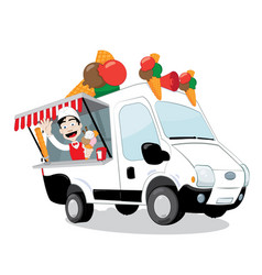funny ice-cream van parked and friendly ice-cream vector image