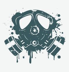 Gas mask graffiti art print vector