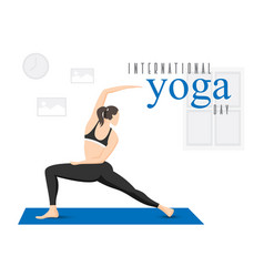 Girl practicing yoga indoor yoga session vector