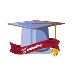 Graduation card with hat icon vector