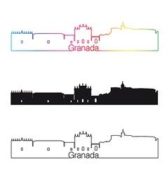 Granada skyline linear style with rainbow vector image