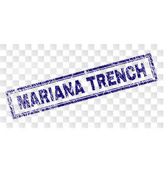 Grunge mariana trench rectangle stamp vector