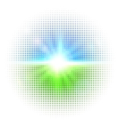 halftone mosaic with sun flares and bokeh vector image