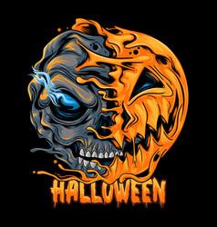 Halloween pumpkin half skull looks spooky vector