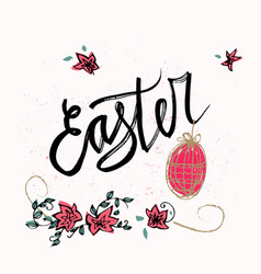 happy easter typographical background hand drawn vector image