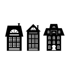 houses monochrome silhouette multi storey building vector image