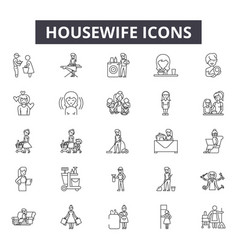 Housewife line icons signs set linear vector