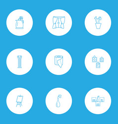 Interior icons line style set with column window vector