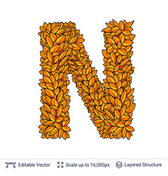 Letter n sign of autumn leaves vector
