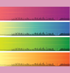 Louisville multiple color gradient skyline banner vector
