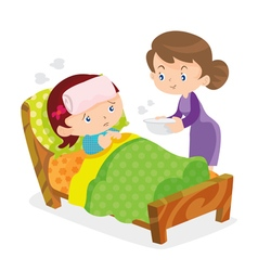 Mother take care sick girls vector