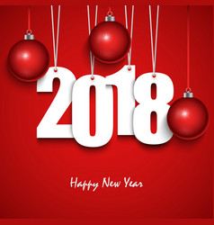 new year red wishes with hanging numbers and vector image