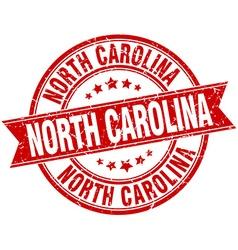 North Carolina red round grunge vintage ribbon vector