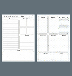 Notebook pages template daily and notes vector