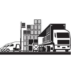 Open distribution warehouse vector