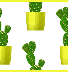 opuntia cactus - floral seamless pattern vector image