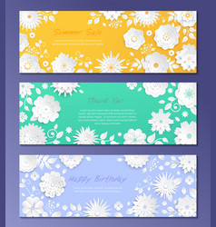 paper cut flowers - set modern colorful vector image