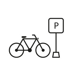 parking outline bicycle bike icon sport health vector image
