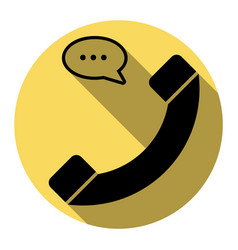 phone with speech bubble sign flat black vector image