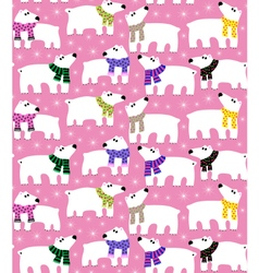 Polar bears on pink background vector