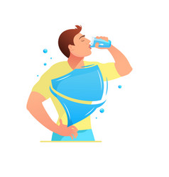 protection of the body man is drinking water vector image