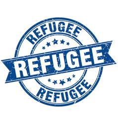 Refugee round grunge ribbon stamp vector