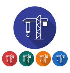 round icon of tower crane flat style with long vector image