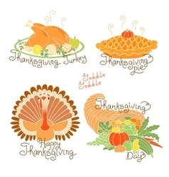 set color drawings to thanksgiving day autumn vector image