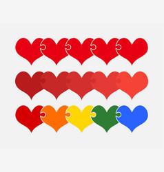 set colorful pieces puzzle romantic five hearts vector image