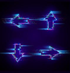 Set futuristic cyberpunk glitch arrows modern vector