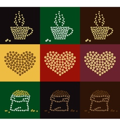 Set of coffee bean in coffee cup heart shape vector