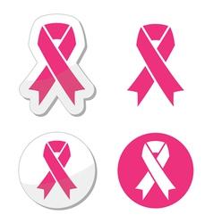 Set pink ribbons symbols for breast canc vector